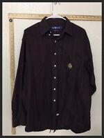Polo Ralph Lauren Button Shirt Big Blue Label Long Sleeve Striped Maroon Size L