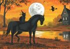 ACEO PRINT OF PAINTING RYTA HALLOWEEN HAUNTED HOUSE BLACK CAT WITCH FULL MOON