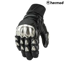 Icon Timax Short Leather Motorbike Motorcycle Gloves - Black