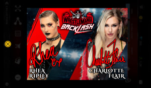 Topps Slam Backlash Red Dual Signature Charlotte Flair and Ripley Digital ICONIC