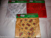 TABLE RUNNER CHRISTMAS DINNER FABRIC MATERIAL PARTY XMAS FESTIVE GLITTER FINISH