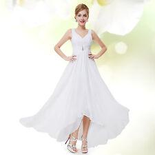 Ever-Pretty Long Chiffon V Neck Evening Formal Party Bridesmaid Dress 09983 White 16