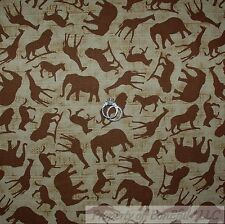 BonEful Fabric FQ Cotton Quilt Brown Gold US African Zebra Giraffe Lion Elephant