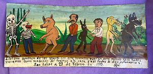Mexican Folk Art Strange & Wonderful World Of Freaks XL Ex Voto Retablo