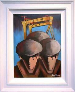 Original Painting Irish Art HARLAND & WOLFF SHIPYARD WORKERS BELFAST, N. IRELAND