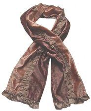 echarpe fantaisie femme velours marron chocolat et bronze