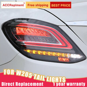 For Benz C-Class W205 LED Taillights Assembly Dark/Red LED Rear Lamps 2014-2020