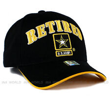 U.S. ARMY hat RETIRED ARMY Military Official Licensed Baseball cap- Black/Gold