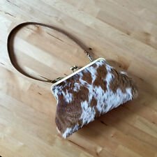 Calf Hair clutch purse with strap, Small Mini leather bag, Spotted Cowhide bag