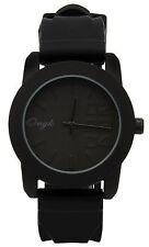 Mens Black/Black 0123 Fashion Casual Silicone Quartz Wrist Watch Watches ONK1
