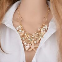 Women Sea Shell Starfish Necklace Choker Faux Pearl Collar Bib Statement Chunky