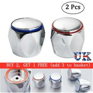 2Pcs Hot & Cold Tap Top Head Faucet Cover Handle Chrome Plated Replacement Set