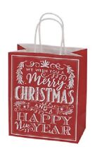 25 Merry Christmas Chalkboard Paper Shopping Bags 8 ¼� x 4 ¾� x 10 ½� Red Gift