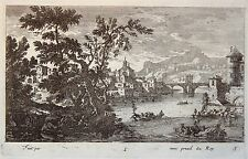 Gravure Etching Incisione Kupferstich PERELLE Paysage rivière barque pont