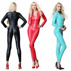 Women Fetish Spandex PU Gothic Catsuit Bodysuit Jumpsuit Fancy Clubwear Costumes