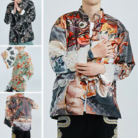 Men's Printed Long Sleeve Chinese Style Kung Fu Blouse Tops Casual Loose Shirts