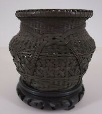 New listing 19th Century - Japanese - Hand-Woven Copper + Silvered Basket - w/ wooden stand