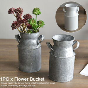 Rustic Metal Plant Pots Vintage Milk Churn Bucket Flower Holder Pot Vase