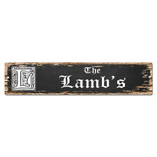 SPFN0511 The LAMB'S Family Name Street Chic Sign Home Decor Gift Ideas