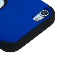 For iPod Touch 5th & 6th Gen -Hybrid Rugged Hard&Soft Armor Skin Case BLUE BLACK