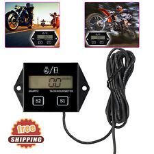 Tach Hour Meter Black Digital Gauge For 2/4 Stroke Motorcycle Tachometer Engine