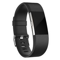 Ersatz Silikon Armband in Schwarz für Fitbit Charge 2 Fitness Sport Tracker