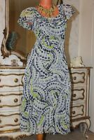 (15) PER UNA Grey/lime green frilled semi fitted lined dress Size 12
