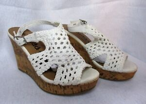 Ladies Size 6.5M Wedge Open-Toed Shoes by Mudd Crochet Uppers Sling Straps NWT