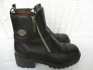 Harley-Davidson Women's Size 7 Black Leather Side Zip Ankle Motorcycle Boots