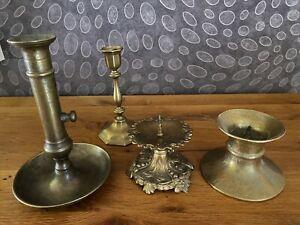 4 alte Messing Kerzenleuchter