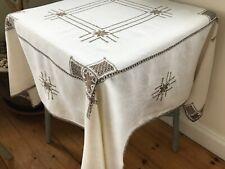 Pretty Vintage Small Cream Linen Embroidered Tablecloth