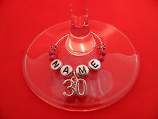 Personalised 30th Birthday Wine Glass Charm with Name in a Gift Card - FREE P&P