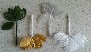 12 fabric silk artificial rose leaves on wires