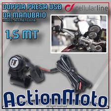 KIT DI ALIMENTAZIONE USB PRESA DA MANUBRIO TUBOLARE MOTO 12V CELLULAR LINE