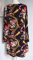& OTHER STORIES PARIS Black Floral Scarf Print Dress UK 8 10 Flared Boho Retro