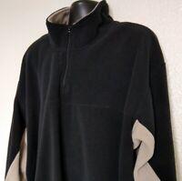 Reebok Men's 3XL Pullover Fleece Sweatshirt L/S 1/4 Zip Black Beige EUC