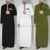 UK Mens Clothing Saudi Arab Long Sleeve Thobe Islamic Jubba Thobe Wedding Kaftan