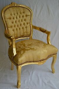 LOUIS XV ARM CHAIR FRENCH STYLE CHAIR VINTAGE FURNITURE GOLD  SATIN