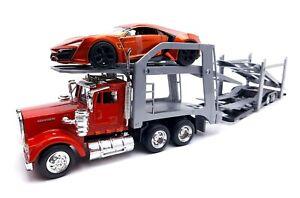 Popak New Ray Kenworth Semi Truck Diecast Car Hauler 1:32 Scale Bonus Lykan