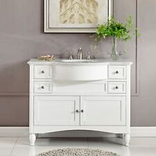 45-inch White Marble Top Bathroom Vanity Modern Single Sink Bath Cabinet 0289W