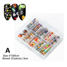 10Sheets Nail Foil Stickers Halloween Flowers Mixed Pattern Nail Transfer Decals
