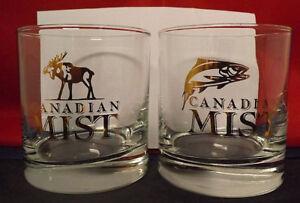 Canadian Mist Rye Whiskey Glasses. Set of 4 Gold Transfer. 2 Moose & 2 Salmon