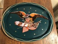 Metal Oval Serving Tray EAGLE/US FLAG Patriotic 11.5 x 14 Americana Decor