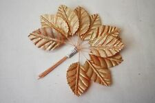 Matt Rose Gold Artificial Silk Leaves x 12 Wired Stems Wedding Floral Craft