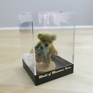 World of Miniature Bears Brown Bear with Teal Ribbon