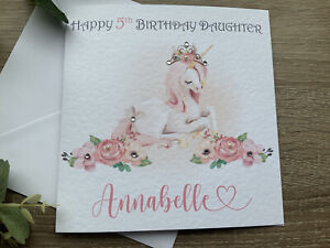 Personalised Birthday Card Unicorn Daughter Sister Niece Any Age Granddaughter