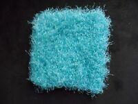 "Mini Hand knitted Blanket   5""  aqua / calips for tiny boy ooak dollhouse doll"
