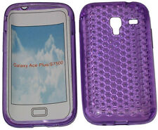 For Samsung Galaxy Ace Plus GT S7500 Pattern Gel Case Protector Cover Purple UK
