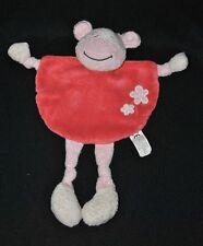 Peluche doudou vache plat Comptoir Français de la Mode rose rouge fleurs BE