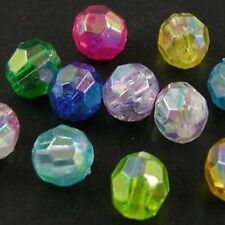 25g 6mm Acrylic Plastic Faceted Round Beads- AB Colours Mixed - A5201